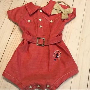 Vintage cowgirl romper with bow 12 month